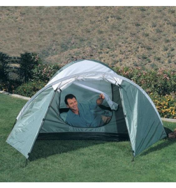 man in Bestway large tent